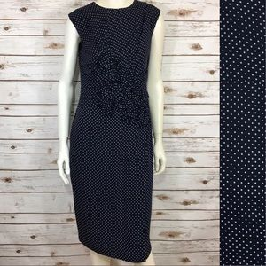 Ralph Lauren Gathered Polka- Dot Sleeveless Dress